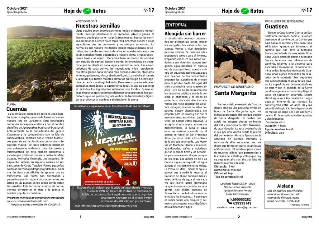 N17 Hoja de Ruta_Octubre 2021_Senderismo Lanzarote